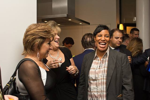DFNYC's Rhonda Patillo, right, at the TransPAC event in the West Village, October 2016
